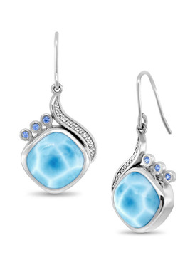 MarahLago Aurora Collection Larimar Earrings with White Sapphires and Blue Spinel - 3x4