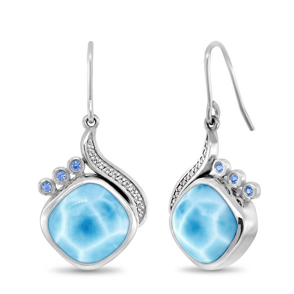 MarahLago Aurora Collection Larimar Earrings with White Sapphires and Blue Spinel