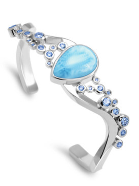 MarahLago Constellation Collection Larimar Cuff Bracelet with Blue Spinel - 3x4