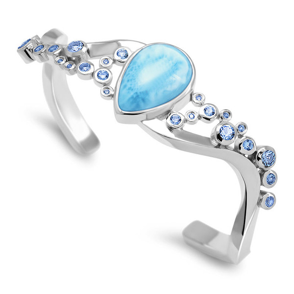 MarahLago Constellation Collection Larimar Cuff Bracelet with Blue Spinel