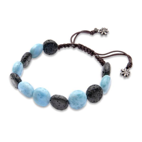 MarahLago Unisex Larimar & Lava Rock Bead Bracelet