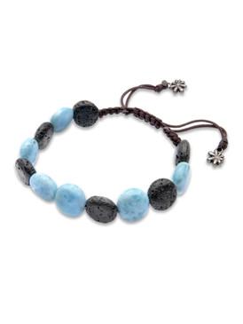 MarahLago Unisex Larimar & Lava Rock Bead Bracelet  - 3x4