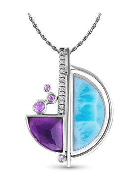 MarahLago Cove Larimar Necklace with Amethyst and White Sapphire - 3x4