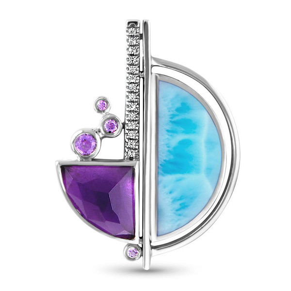 MarahLago Cove Larimar Necklace with Amethyst and White Sapphire