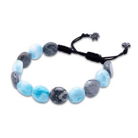 MarahLago Aegis Larimar & Gray Lace Jasper Coin Bead Bracelet