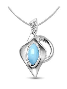 MarahLago Calla Larimar Necklace with White Sapphire - 3x4