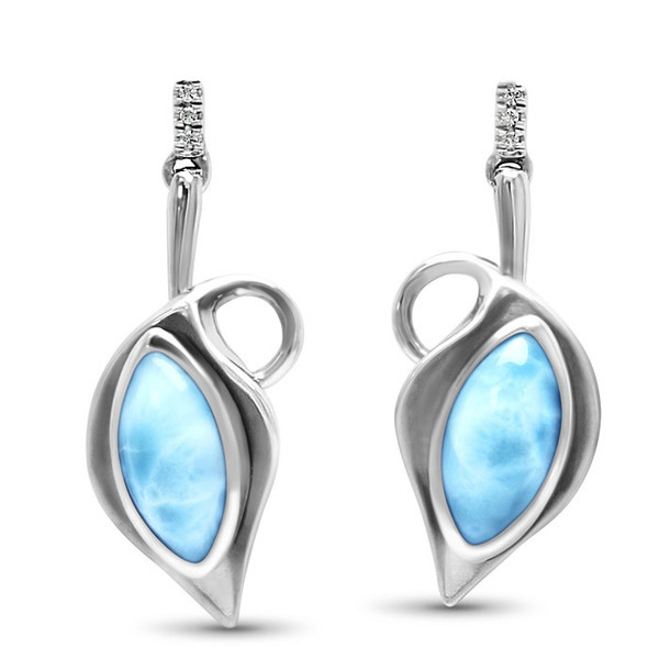 MarahLago Calla Larimar Earrings with White Sapphire