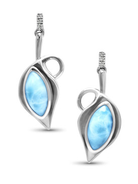 MarahLago Calla Larimar Earrings with White Sapphire - 3x4