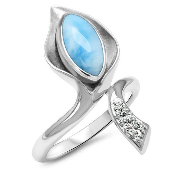 MarahLago Calla Larimar Ring with White Sapphire