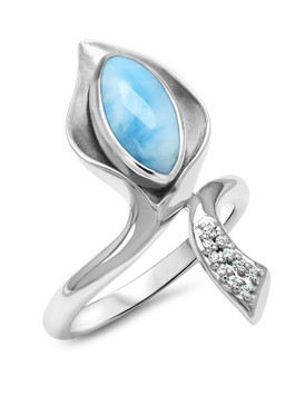 MarahLago Calla Larimar Ring with White Sapphire - 3x4