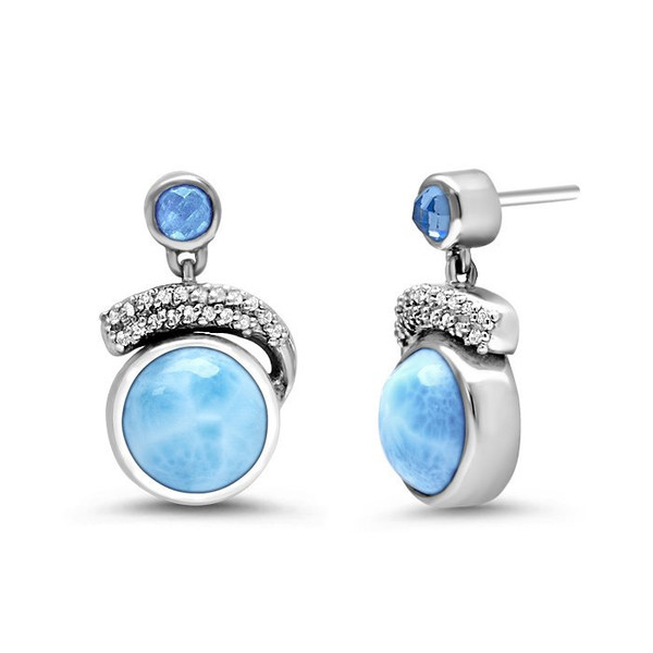 MarahLago Como Larimar Earrings with White Sapphire & Blue Spinel