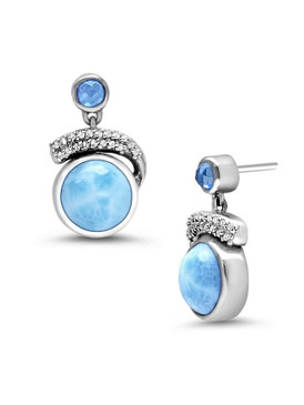MarahLago Como Larimar Earrings with White Sapphire & Blue Spinel - 3x4