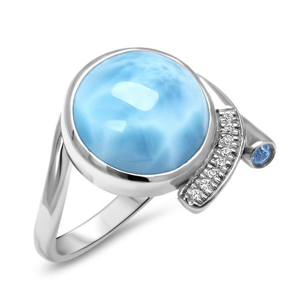 MarahLago Como Larimar Ring with White Sapphire & Blue Spinel