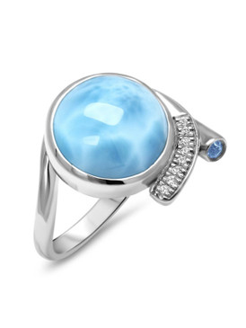 MarahLago Como Larimar Ring with White Sapphire & Blue Spinel - 3x4