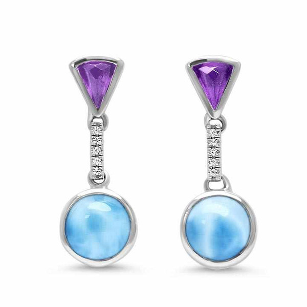MarahLago Cove Larimar Earrings with White Sapphire & Amethyst