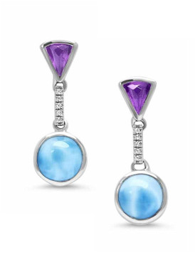 MarahLago Cove Larimar Earrings with White Sapphire & Amethyst - 3x4