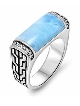 MarahLago Eros Larimar Ring with White Sapphire - 3x4