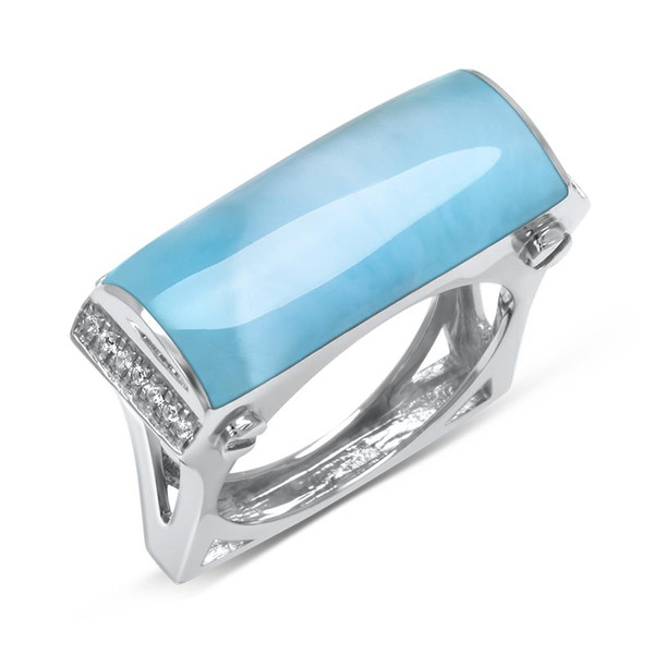 MarahLago Essence Larimar Ring with White Sapphire