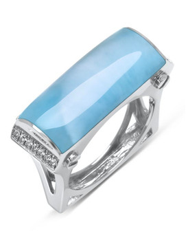 MarahLago Essence Larimar Ring with White Sapphire - 3x4