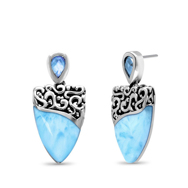 MarahLago Haven Larimar Earrings with Blue Spinel