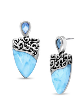 MarahLago Haven Larimar Earrings with Blue Spinel - 3x4