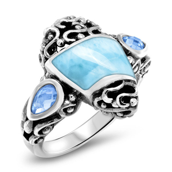 MarahLago Haven Larimar Ring with Blue Spinel