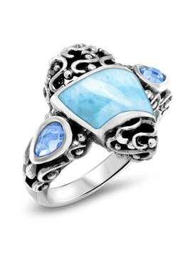 MarahLago Haven Larimar Ring with Blue Spinel - 3x4