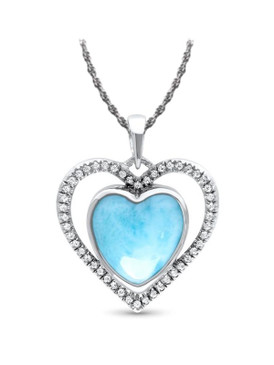 MarahLago Infinity Heart Larimar Necklace with White Sapphire - 3x4