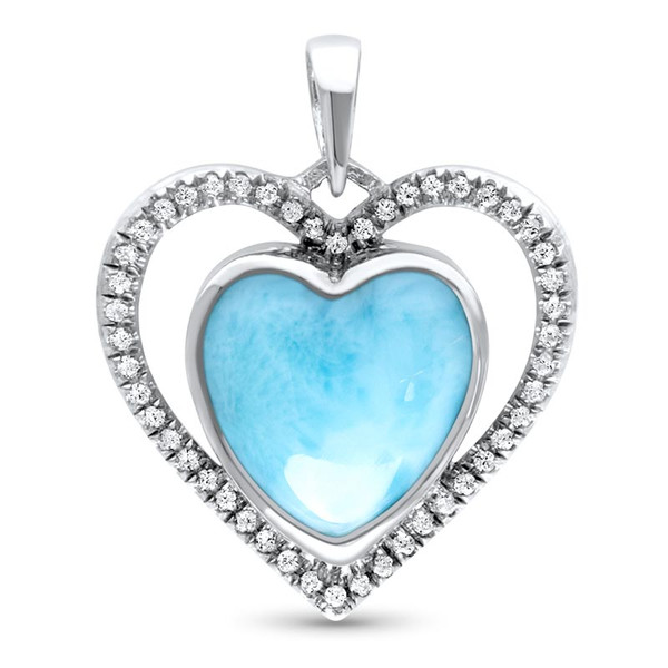 MarahLago Infinity Heart Larimar Necklace with White Sapphire