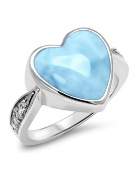 MarahLago Sapphire Heart Larimar Ring - 3x4