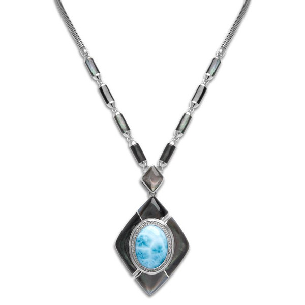 MarahLago Laguna Large Larimar Necklace with White Sapphire & Black Mother of Pearl