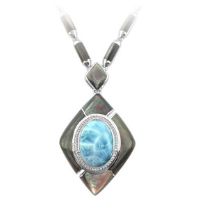 MarahLago Laguna Large Larimar Necklace with White Sapphire & Black Mother of Pearl - close up