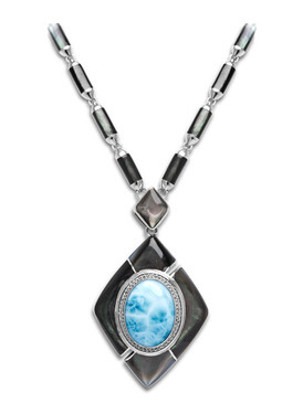 MarahLago Laguna Large Larimar Necklace with White Sapphire & Black Mother of Pearl  - 3x4
