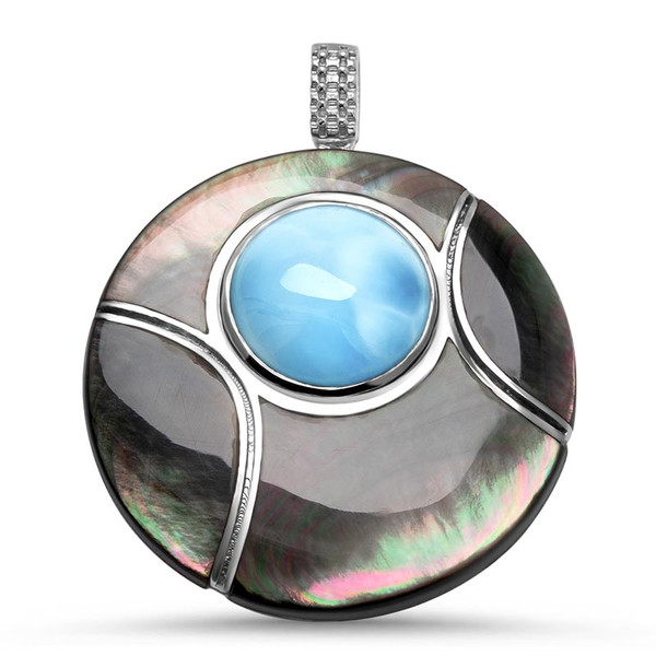 MarahLago Small Round Laguna Larimar Necklace with Black Mother of Pearl