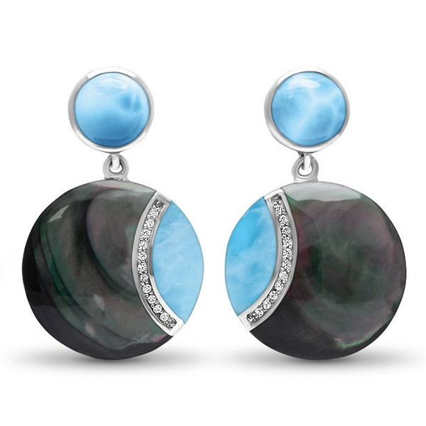 MarahLago Laguna Larimar Earrings with White Sapphire & Black Mother of Pearl