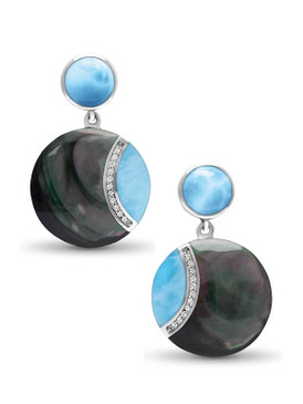 MarahLago Laguna Larimar Earrings with White Sapphire & Black Mother of Pearl - 3x4