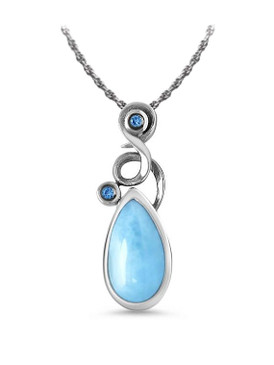 MarahLago Lyric Larimar Necklace with Blue Spinel - 3x4