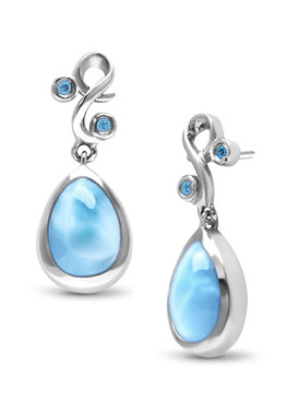 MarahLago Lyric Larimar Earrings with Blue Spinel - 3x4