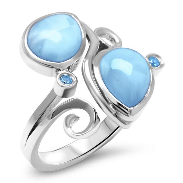 MarahLago Lyric Larimar Ring with Blue Spinel