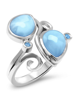 MarahLago Lyric Larimar Ring with Blue Spinel - 3x4