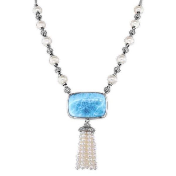MarahLago Mist Larimar Necklace with White Sapphire & Freshwater Pearl
