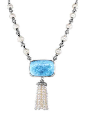 MarahLago Mist Larimar Necklace with White Sapphire & Freshwater Pearl - 3x4