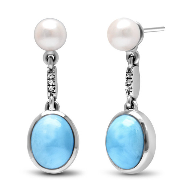 MarahLago Mist Larimar Earrings with White Sapphire & Freshwater Pearl