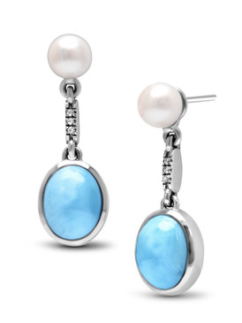 MarahLago Mist Larimar Earrings with White Sapphire & Freshwater Pearl - 3x4