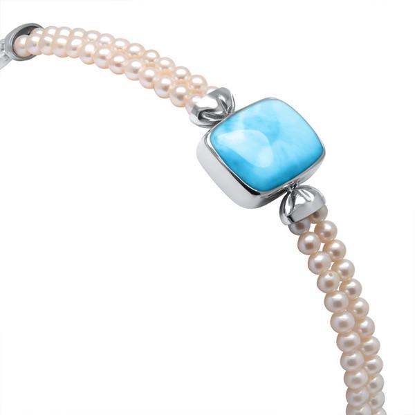 MarahLago Mist Larimar Bracelet with White Sapphire & Freshwater Pearl