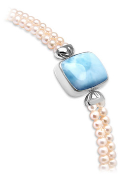 MarahLago Mist Larimar Bracelet with White Sapphire & Freshwater Pearl - 3x4