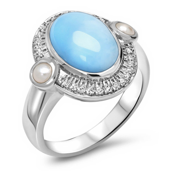 MarahLago Mist Larimar Ring with White Sapphire & Freshwater Pearl