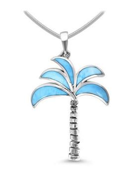 MarahLago Oxidized Palm Tree Larimar Necklace - 3x4