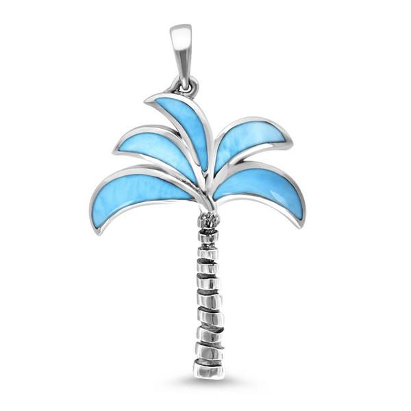 MarahLago Oxidized Palm Tree Larimar Necklace