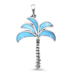 MarahLago Oxidized Palm Tree Larimar Necklace